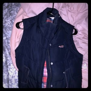 Navy blue vest with plaid lining